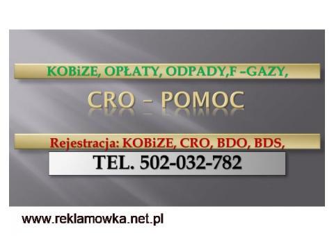Zgłoszenie do CRO, cena. tel. 502-032-782, sprawozdanie, wykaz, urządzeń