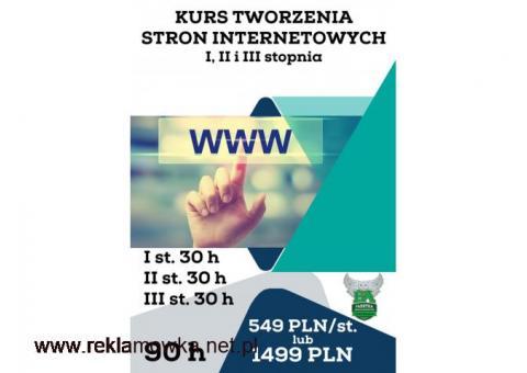 Kurs tworzenia stron www I, II i III stopnia