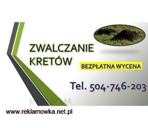 Zwalczanie kretów, cennik, tel. 504-746-203. Wrocław. Usuwanie, gazowanie, wypłoszenie kreta,