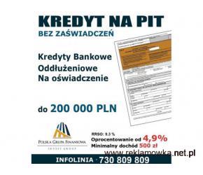 Kredyt bez zaświadczeń przez cały rok do 200 tys wystarczy Pit