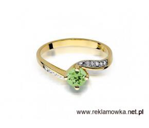 Złoty pierścionek z oliwinem - Ergold.pl