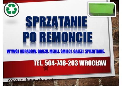 Sprzątanie terenu budowy, cennik tel 504-746-203, remont, wywózka, Wrocław,wywóz,pozostałych odpadów