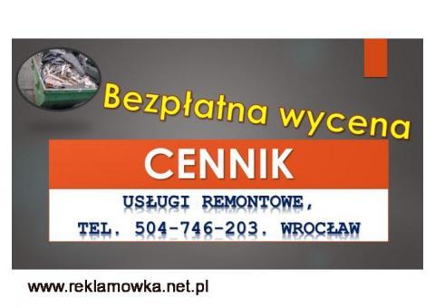 Usługi budowlane, cennik usług remontowych, budowlanych, Wrocław,  Remont mieszkania, łazienki,