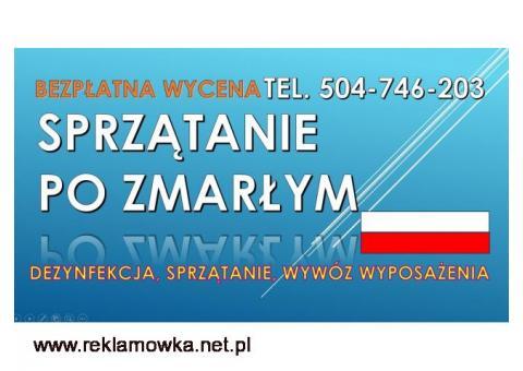 Sprzątanie po zmarłych, Wrocław, zmarłym, cena, tel. 504-746-203 zgonie, zgonach
