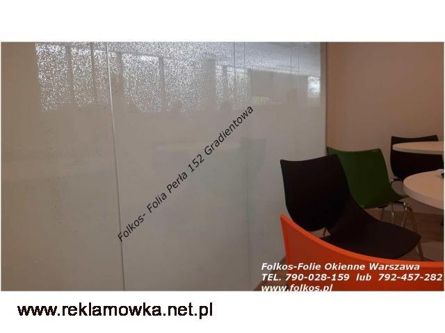 Folie okienne Kraków -Folie wzory gradientowe,perła,152, mgła152,białe kwiaty92....Folie okienne - 1/2