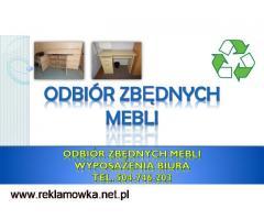 Utylizacja mebli biurowych, tel. 504-746-203. Odbiór mebli z biura, firmy, cena