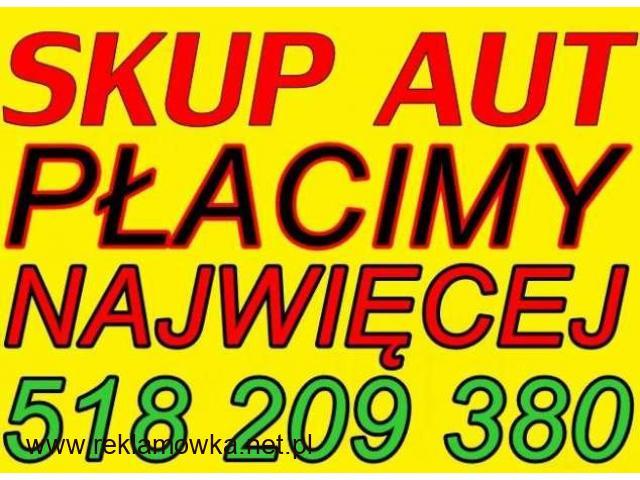Tel: 518 209 380 Auto SKUP Aut SKUP Samochodów całych i uszkodzonych - GOTÓWKA OD RĘKI! - 1/2